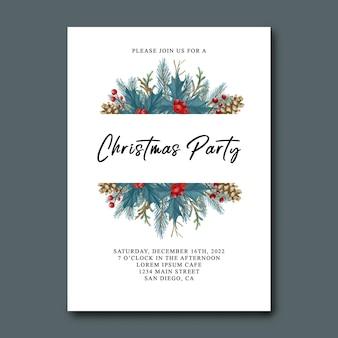 Kartka z zaproszeniem na przyjęcie bożonarodzeniowe z akwarelowymi liśćmi świątecznymi