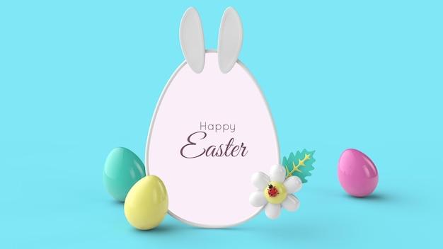 Kartkę Z życzeniami Szczęśliwego Dnia Wielkanocy. Renderowanie 3d. Premium Psd
