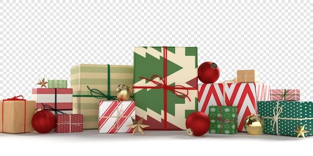 Kartki świąteczne z czerwonymi i złotymi ozdób choinkowych i prezentów na białym tle