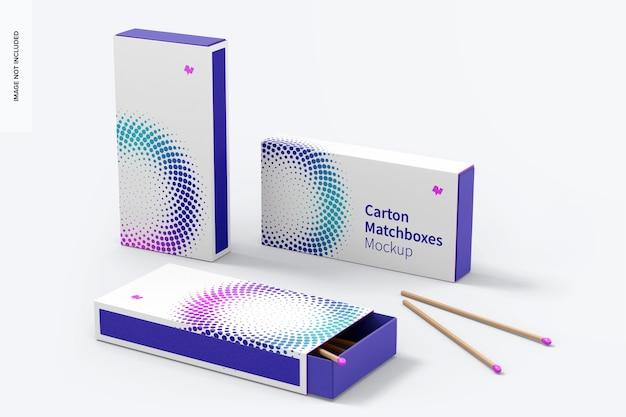 Kartonowe pudełka zapałek makieta, zestaw wielu widoków
