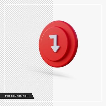 Kąt strzałki w dół, czerwona ikona renderowania 3d 3