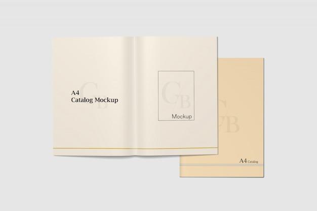 Katalog a4 otwarty i widok z góry na kąt