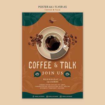 Kawa i rozmowa styl plakatu