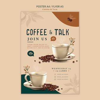 Kawa i rozmowa w stylu ulotki