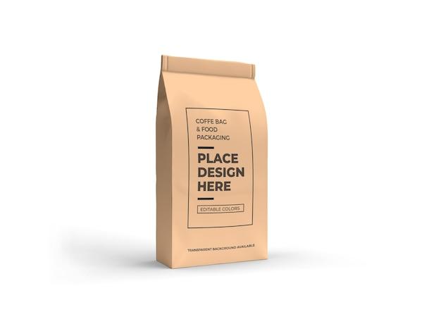 Kawa i torba na żywność makieta projekt na białym tle