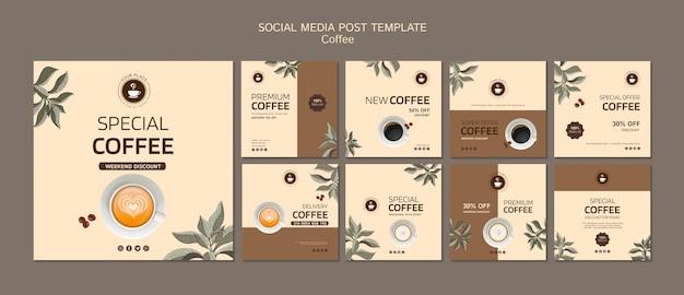 Kawa mediów społecznościowych szablon postu