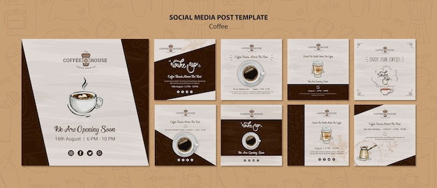 Kawiarnia posty mediów społecznościowych szablon