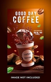 Kawiarnia promocja menu napojów w mediach społecznościowych szablon transparent historii na instagramie