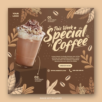 Kawiarnia promocja menu pić social media instagram post banner szablon