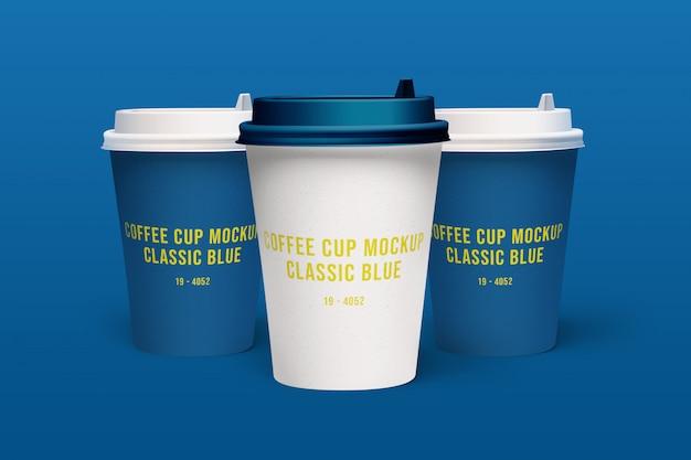 Klasyczna makieta niebieskich filiżanek kawy