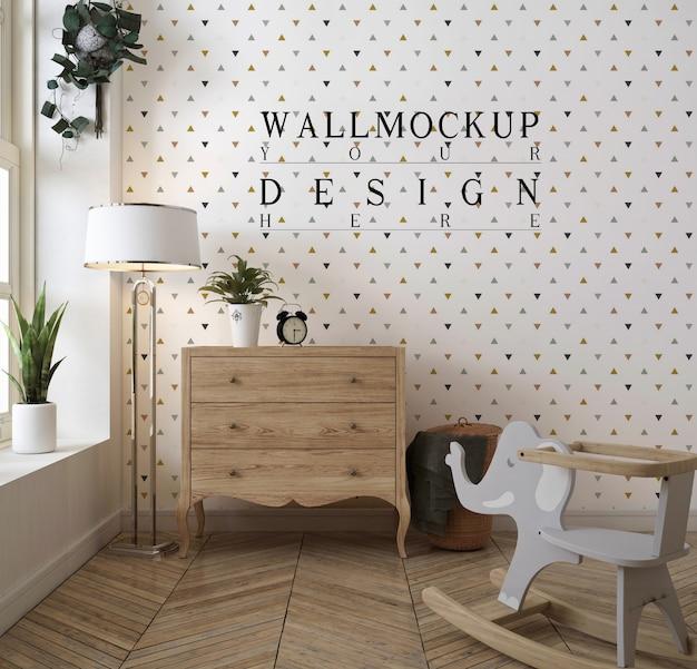 Klasyczna sypialnia dla dziecka z makietą tapety
