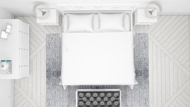 Klasyczna sypialnia lub pokój hotelowy z podwójnym łóżkiem i eleganckimi meblami, widok z góry