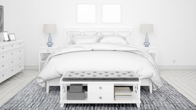 Klasyczna sypialnia lub pokój hotelowy z podwójnym łóżkiem i eleganckimi meblami