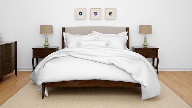 Klasyczna sypialnia lub pokój hotelowy z podwójnym łóżkiem
