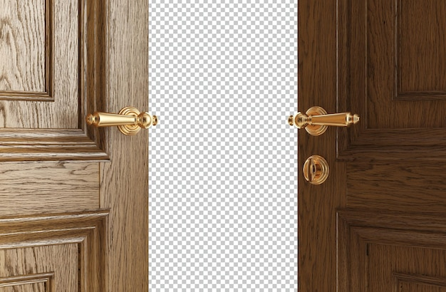 Klasyczne drzwi otwierające się na jasne światło izolowane renderowania 3d