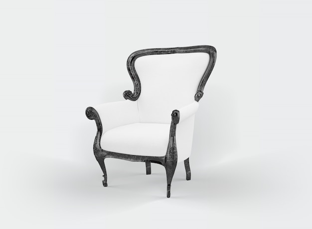 Klasyczny fotel na białym tle
