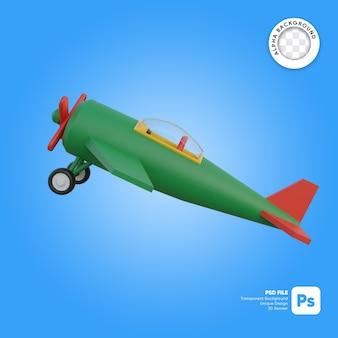 Klasyczny samolot startuje obiekt 3d