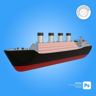 Klasyczny statek wycieczkowy front look obiekt 3d