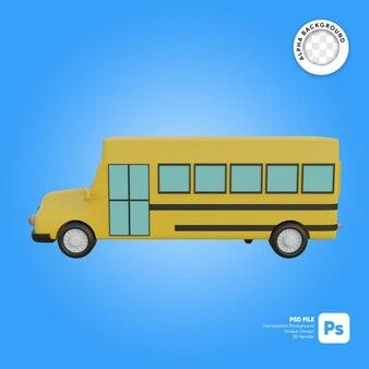 Klasyczny szkolny autobus boczny vew obiekt 3d