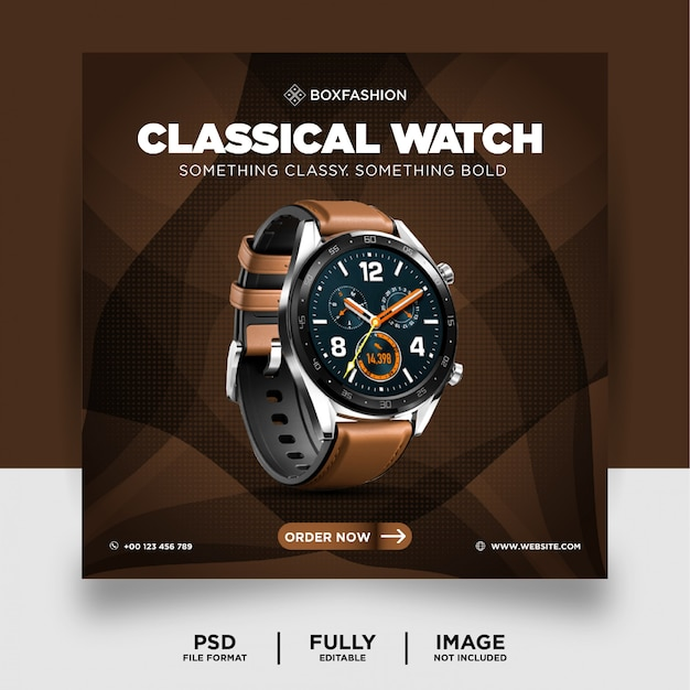 Klasyczny zegarek w kolorze czekolady produkt marki social media post banner
