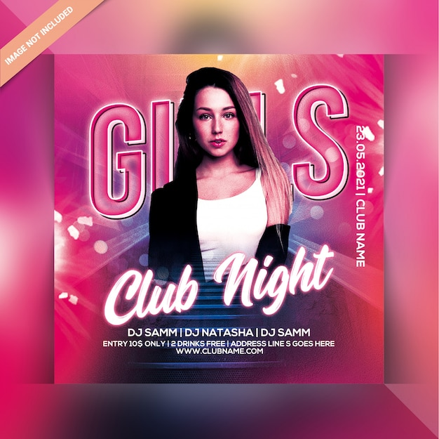 Klub nocny impreza ulotki dla dziewcząt