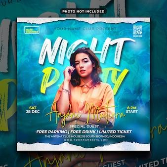 Klubowa nocna ulotka na imprezę w mediach społecznościowych i baner internetowy