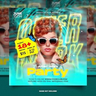 Klubowa ulotka na imprezę dj w mediach społecznościowych