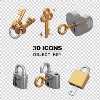 Klucze i zamki 3d ikona na białym tle