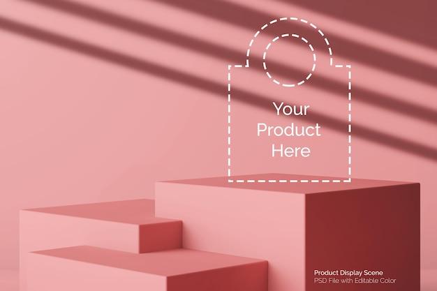 Kobiece różowe pastelowe kwadratowe pudełko z poziomym podium