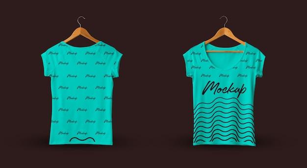 Kobiecy t-shirt makieta ciemne tło cyraneczka