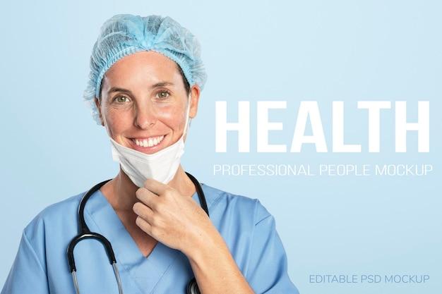 Kobieta lekarz makieta psd z portretem stetoskopu