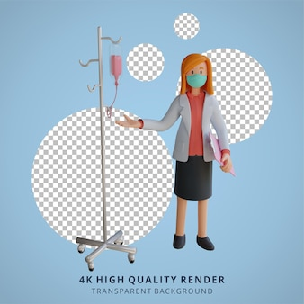 Kobieta lekarz nosząca maskę z słupem infuzyjnym 3d ilustracja postaci