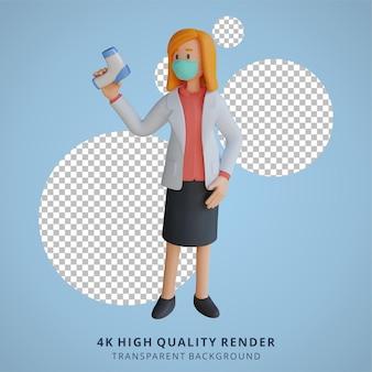 Kobieta lekarz w masce trzyma termogun 3d ilustracja postaci
