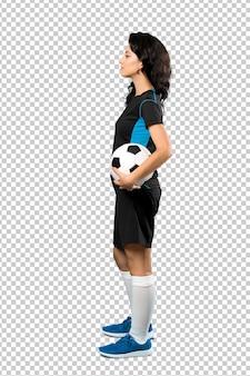 Kobieta młody piłkarz