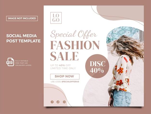 Kobieta moda w mediach społecznościowych post premium psd