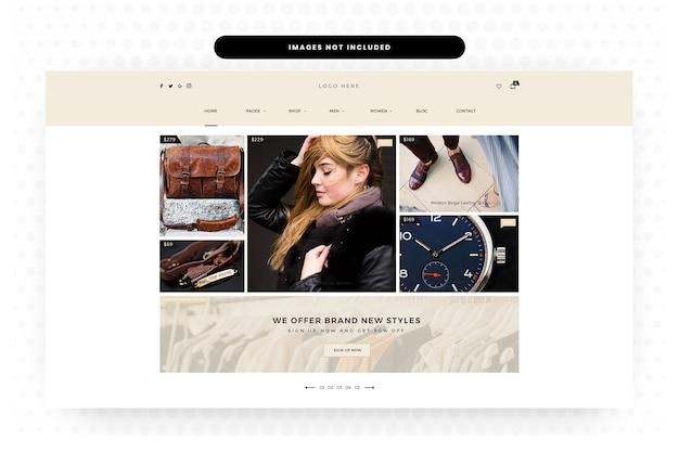 Kobieta odzież i akcesoria strona docelowa, strona główna, nagłówek, suwak, e-commerce