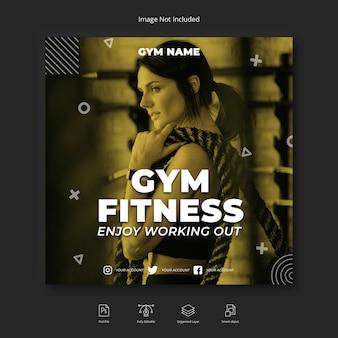 Kobieta siłownia trening mediów społecznościowych instagram post lub kwadratowy szablon ulotki