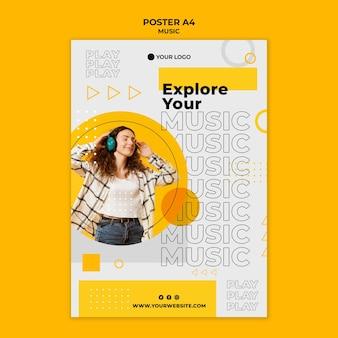 Kobieta ubrana w słuchawki szablon plakat
