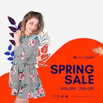Kobieta w sukni wiosennej sprzedaży kwadratowych ulotki
