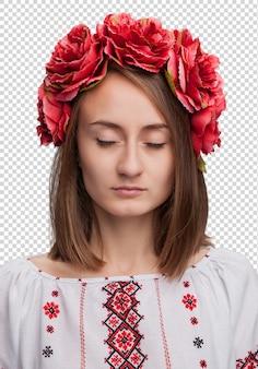 Kobieta w ukraińskim garniturze krajowym