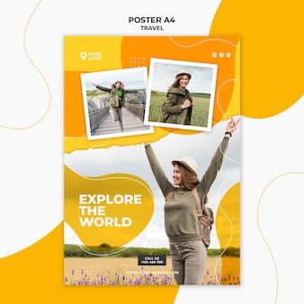 Kobieta z rękami w powietrzu plakat szablon