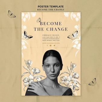 Kobieta z widokiem z przodu staje się plakatem zmiany