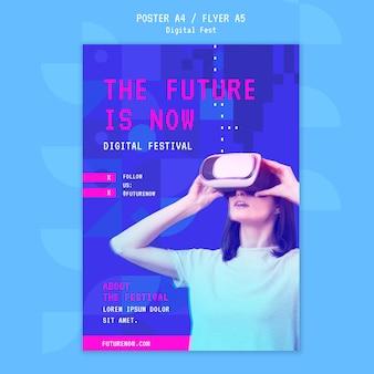 Kobieta za pomocą szablonu plakatu zestawu słuchawkowego wirtualnej rzeczywistości