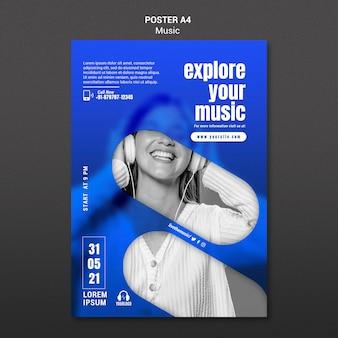 Kobieta ze słuchawkami plakat szablon