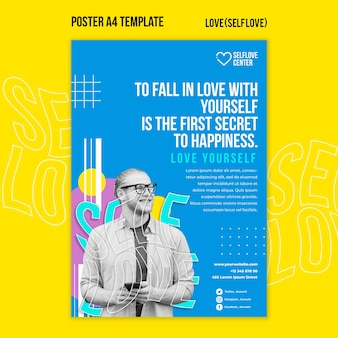 Kochaj siebie szablon plakatu