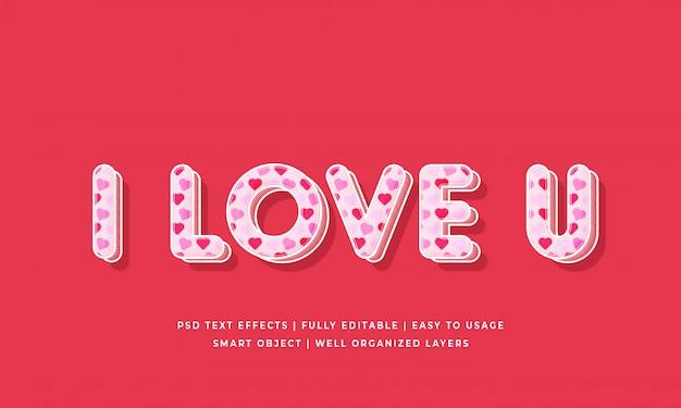 Kocham cię makieta efekt stylu tekstu 3d