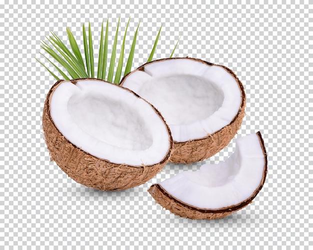Kokos na białym tle z liśćmi