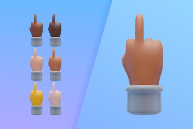 Kolekcja 3d rękami pokazującymi środkowy palec