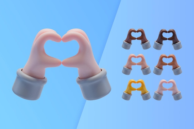 Kolekcja 3d z rąk co symbol serca