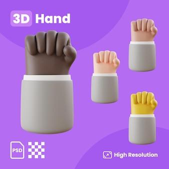 Kolekcja 3d z rękami pokazującymi pięść